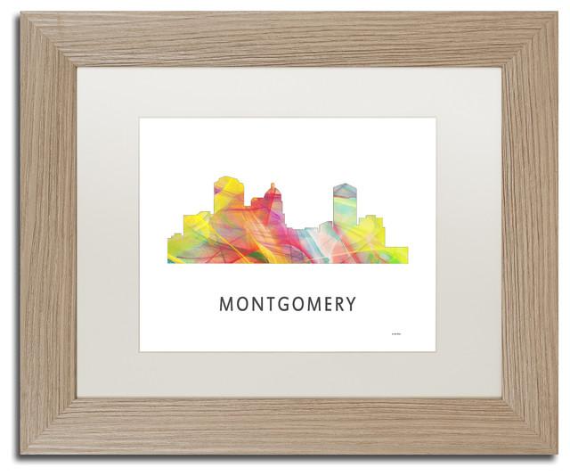 Montgomery Alabama Skyline Wb-1\' Matted Framed Art - Contemporary ...