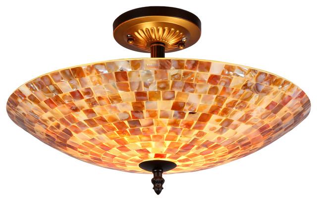 Sey Mosaic 2 Light Semi Flush Ceiling Fixture 16 Shade