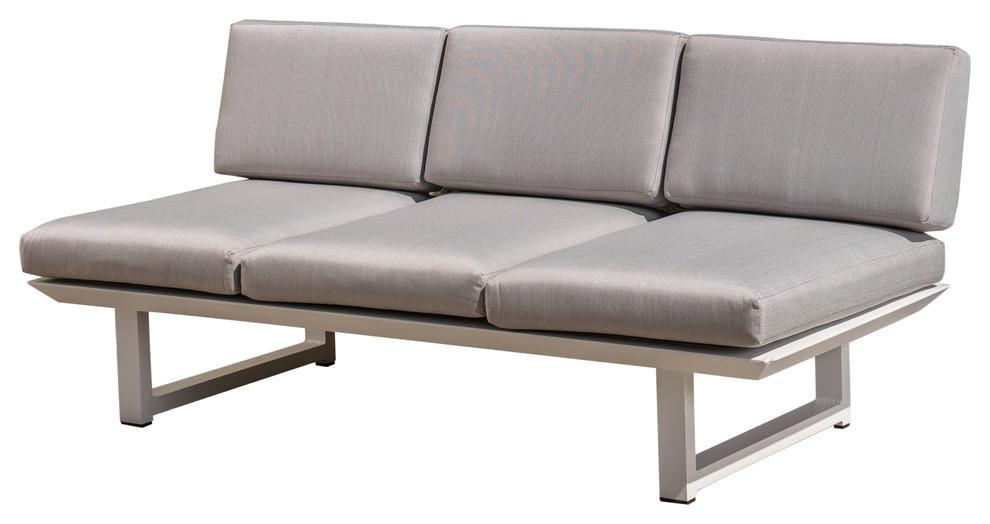 GDF Studio Edward Outdoor Rust-Proof Aluminum 3-Seat Sofa, White/Gray