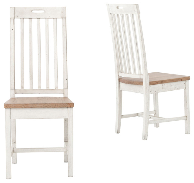Coastal Beach Rustic White Wood Dining Room Chair Set Of 2 Style