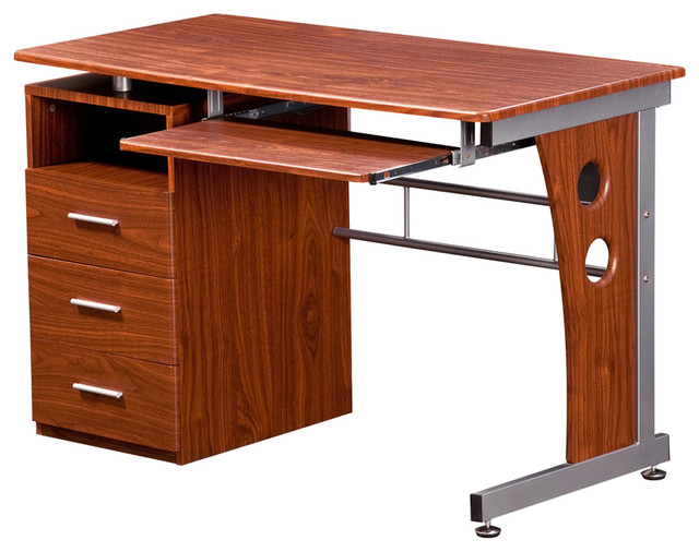 Techni Mobili Home Office Wooden Computer Desk With Storage, Mahogany