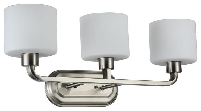 George Kovacs Brushed Nickel Five Light Bath Fixture In: Gomeisa Brushed Nickel Etched White Glass 3-Light Vanity