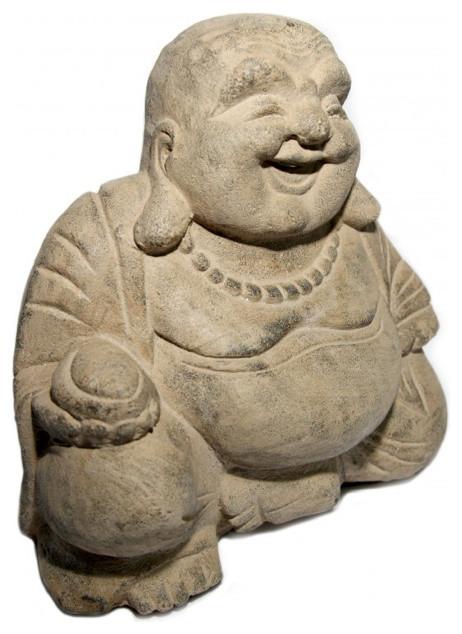 Shop Houzz Oriental Furnishings Happy Buddha Garden Statue Garden Statues And Yard Art