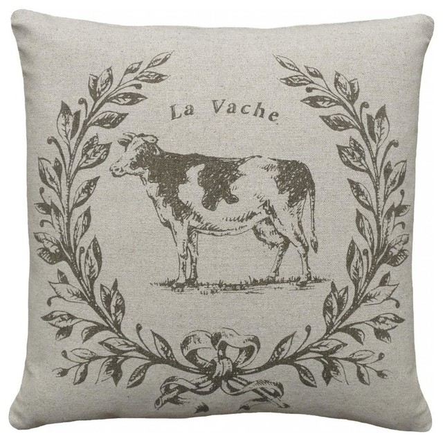 La Vache Smokey Gray Hand-Printed Linen Pillow.