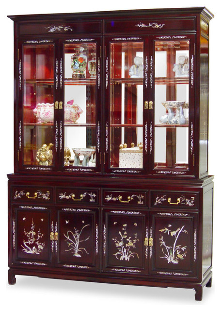 Shop Houzz | China Furniture and Arts 60in Rosewood Mother of Pearl Inlay Motif China Cabinet ...