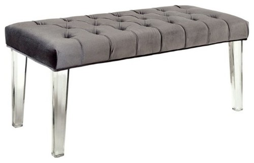 Furniture of America Mahony Fabric Bench With Acrylic Legs, Gray