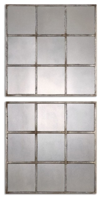 Antiqued Smoked Mirrored Square Wall Art, Set Of 2.