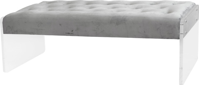 Elyse Tufted Bench Acrylic Legs, Serene Gray.