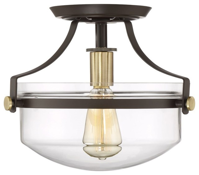 Modern Semi-Flush Mount Ceiling Light With Glass Shade, Oil-Rubbed Bronze.