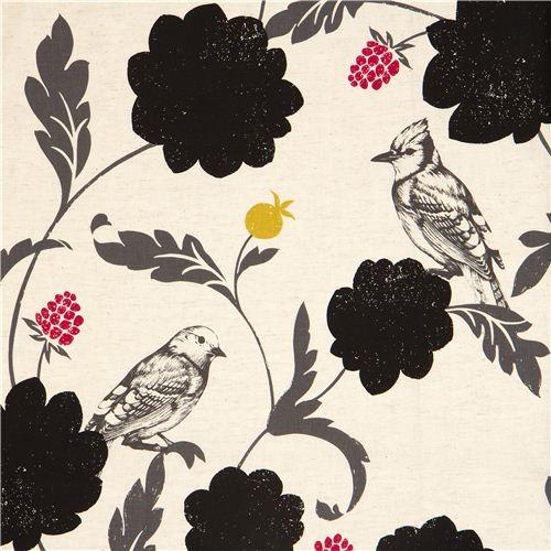 off-white echino canvas fabric Dahlia bird & flower
