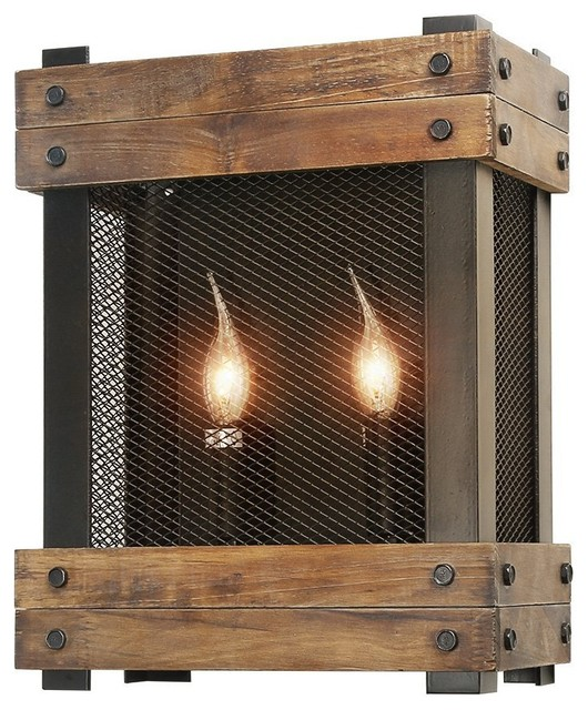 Rustic Wood 2 Light Indoor Wall Sconce For Living Room Hallway Dining