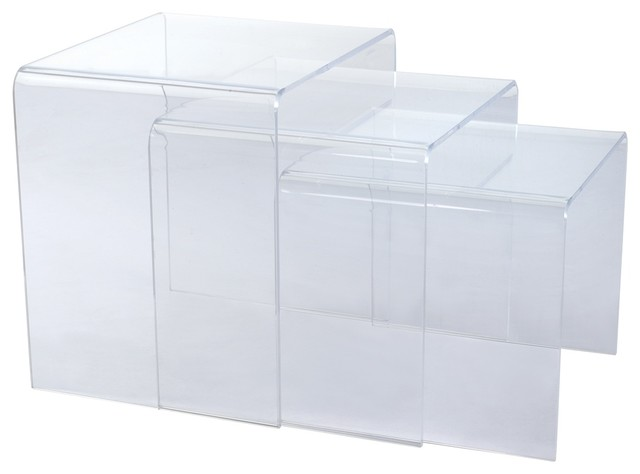 Translucent Acrylic Nesting Tables, Set Of 3 Modern Coffee Table Sets