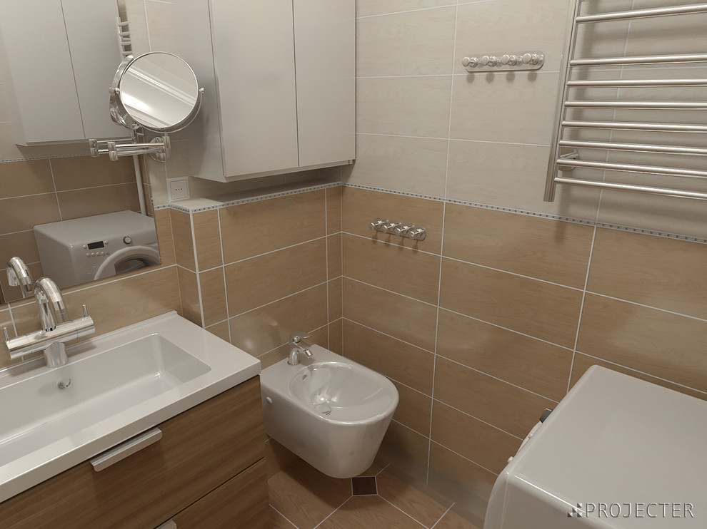 Дизайн ванной комнаты в теплых тонах, инсталляция