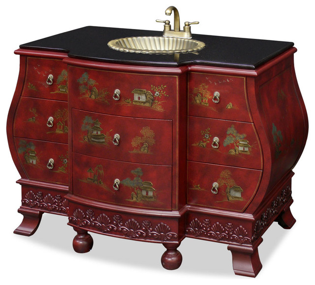 Bombe style vanity cabinet asian bathroom vanities and sink consoles by china furniture for Bathroom vanities china wholesale