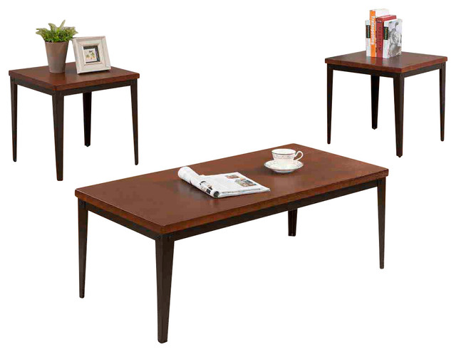 Cocktail and 2 end tables 3 piece set traditional coffee table sets by 2k furniture designs Traditional coffee tables and end tables