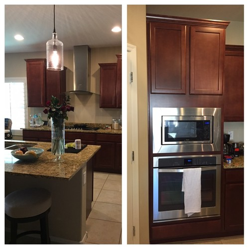 How To Lighten Up A Kitchen With Cherry Cabinets And