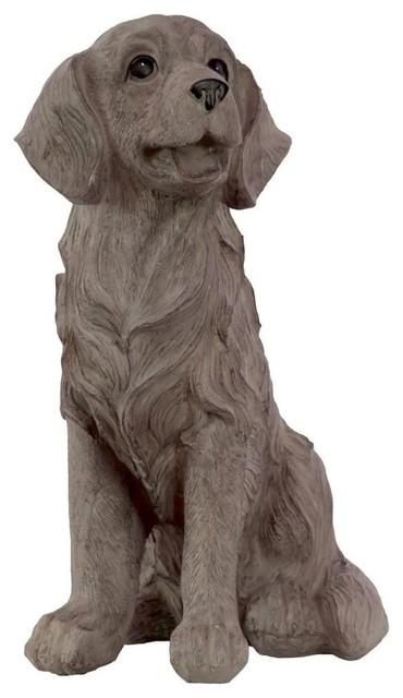 Resin Sitting Golden Retriever Dog Statue Traditional