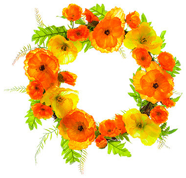 Silk Plants Direct Poppy Wreath, Set Of 2.