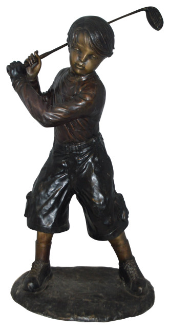 "Young Boy Plays Golf Bronze Statue -  Size: 19""L x 21""W x 45""H."