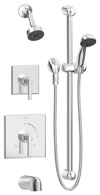 Duro 2 Handle Tub And Shower Faucet Trim With Hand Shower Contemporary Tub And Shower Faucet Sets By Buildcom
