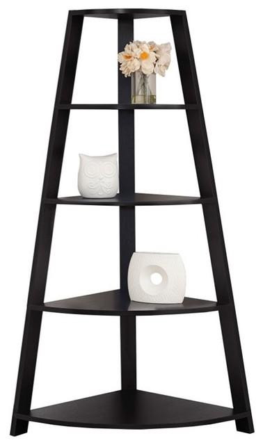 Monarch 4-Shelf Corner Bookcase, Cappuccino.