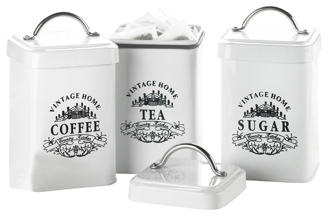 ... 3 Kitchen Canister Set Vintage Style Home Metal Canisters Set Of 3  Traditional ...