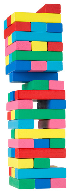 Classic Wooden Blocks Stacking Game With Colored Wood and Carrying Bag