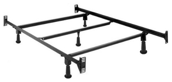 Full Size High Rise Metal Bed Frame With Headboard And Footboard Brackets.