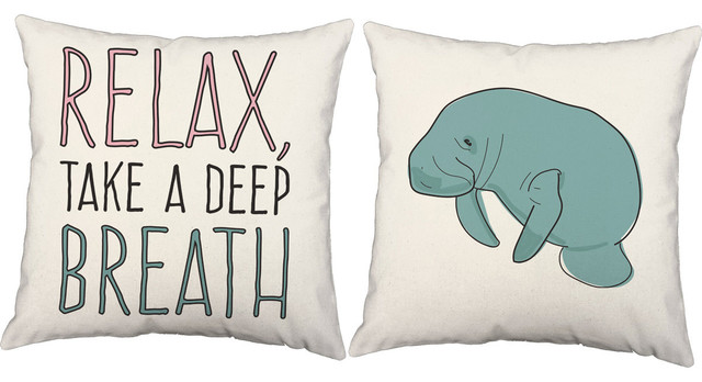 Take a Deep Breath and Relax Manatee Throw Pillows, In/Outdoor Covers Only