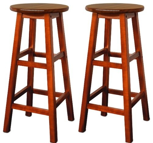 Traditional Bar Stool in Acacia Hardwood with 2 Footrest, Simple Round Design