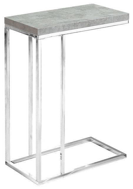 Allegria Minimalist Side Table, Faux Cement Top, Chrome Base.