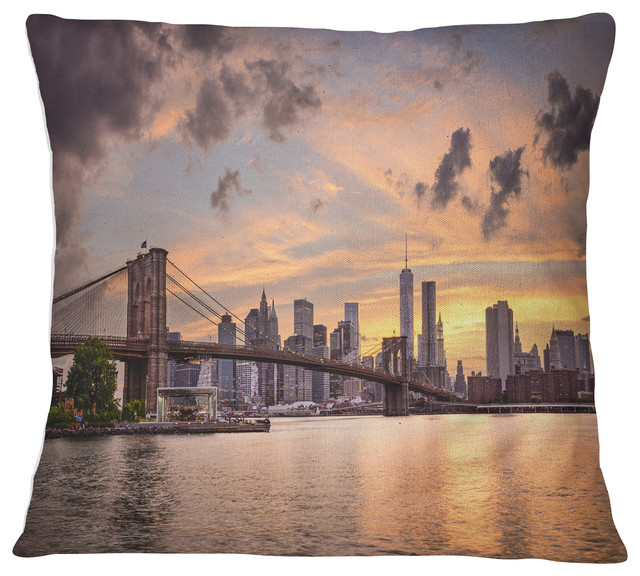 Swell New York City Skyline Under Dark Clouds Cityscape Throw Pillow 16X16 Alphanode Cool Chair Designs And Ideas Alphanodeonline