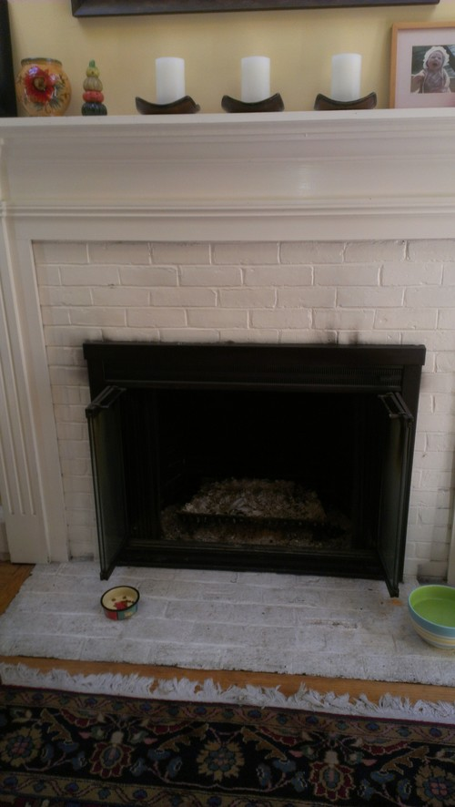 Ideas for re vamping white painted brick fireplace surround - How to make a brick fireplace look modern ...