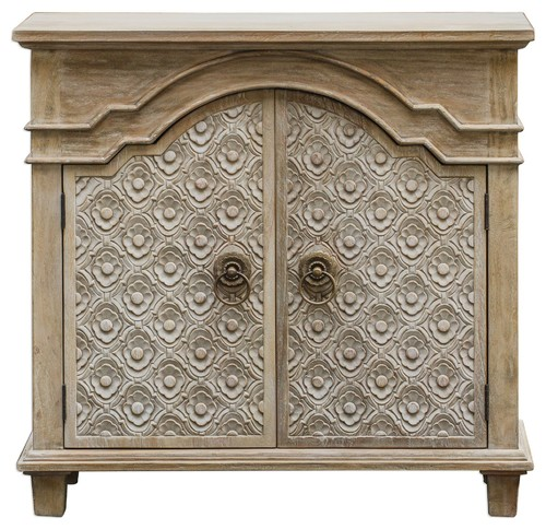 Carved French Country Rosette Floral Accent Cabinet, Wood Ivory Vintage Style