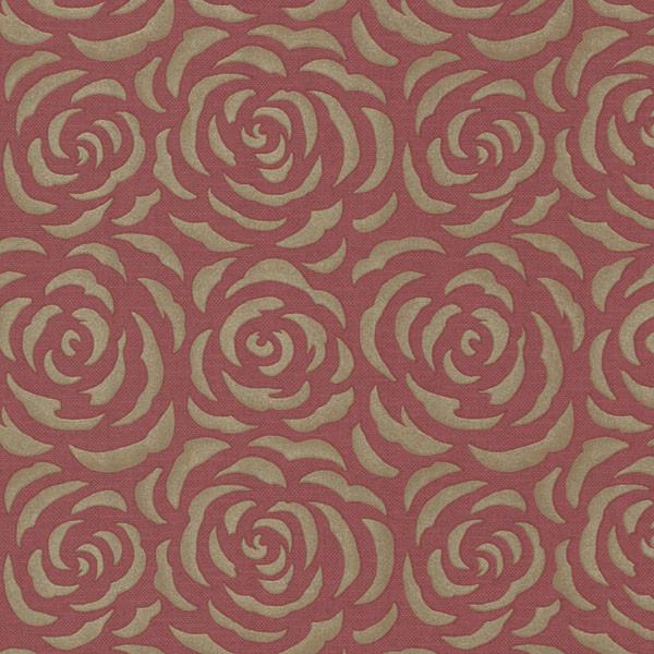 Rosette Red Rose Pattern Wallpaper Bolt