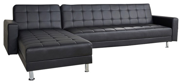 District Convertible Sectional Sofa Bed, Black