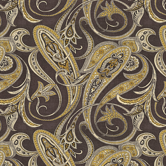 Black And Gold Paisley Linen Fabric Contemporary Drapery Fabric By Loom Decor