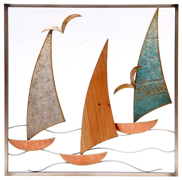Wooden Sailboats Metal Wall Art, 20\