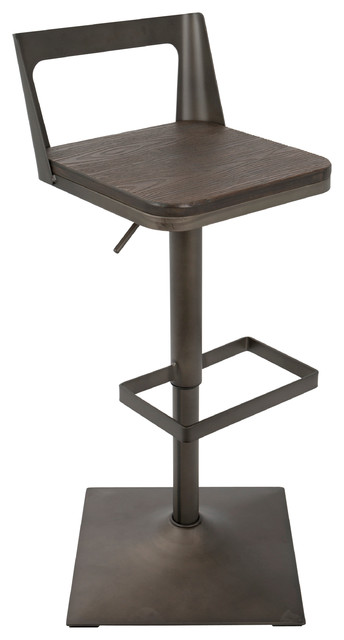 lowest price b8ad5 8a39b LumiSource Samurai Barstool With Antique Frame And Espresso Wood
