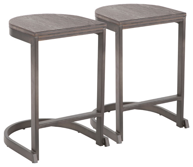 Lumisource Demi Counter Stool, Antique and Espresso Wood, Set of 2