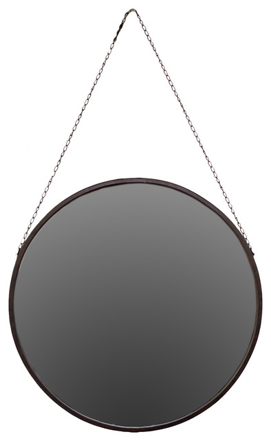 Round Metal Mirror With Chain Hanger, Small.