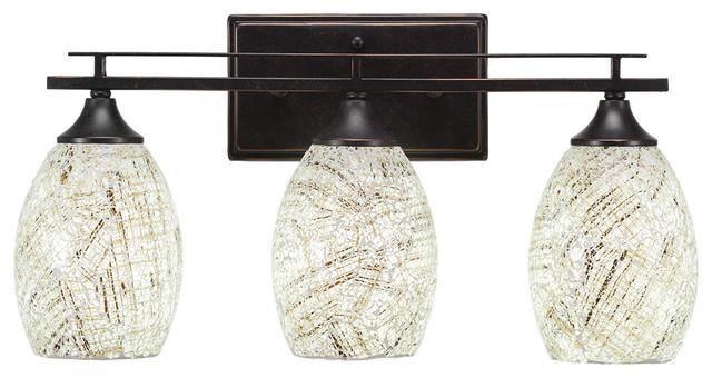 Toltec Lighting Capri 3 Light Bath Bar with 5 Black Fusion Glass