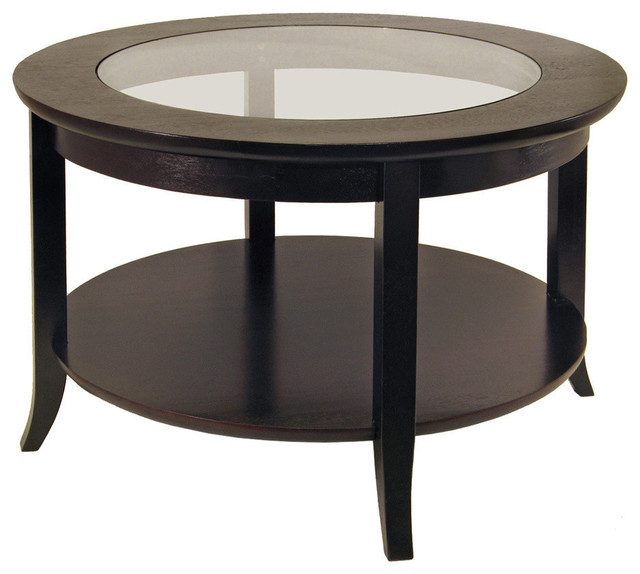 Round Glass Coffee Table in Espresso Wood transitional-coffee-tables