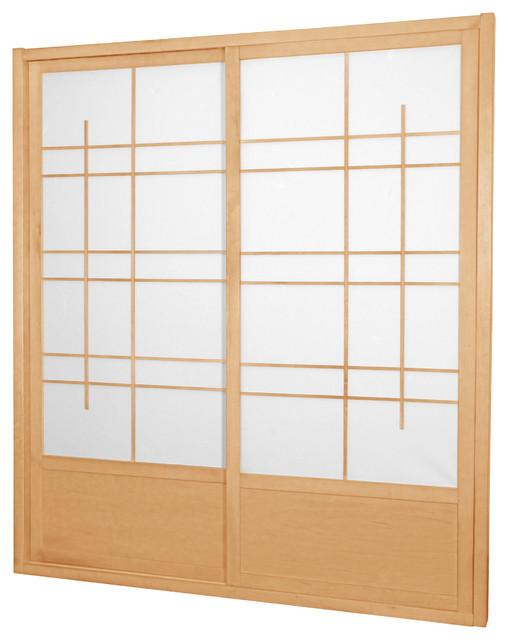 7' Tall Eudes Shoji Sliding Door Kit, Double, Sided, Natural