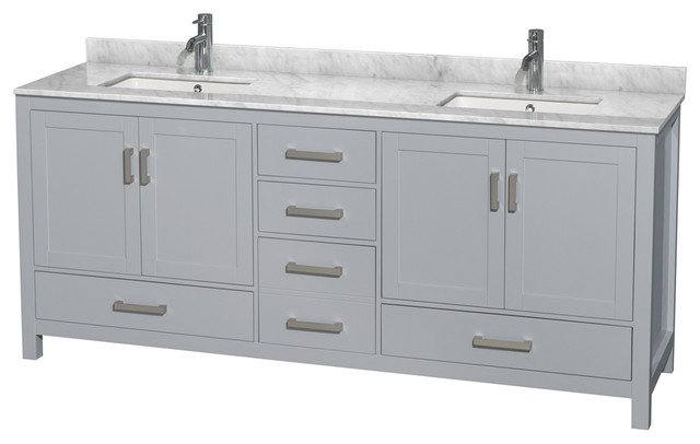 """Sheffield Double Vanity, Square, Gray With White Carrara Marble, 80""""."""