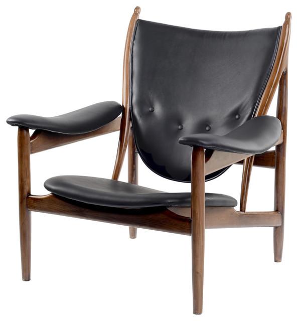Mid Century Modern Armchairs: Carl Mid Century Modern Arm Chair, Black Leather & Walnut