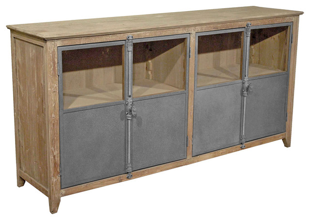 Merveilleux Chaucer Industrial Loft Limed Wood And Metal Sideboard Storage Cabinet