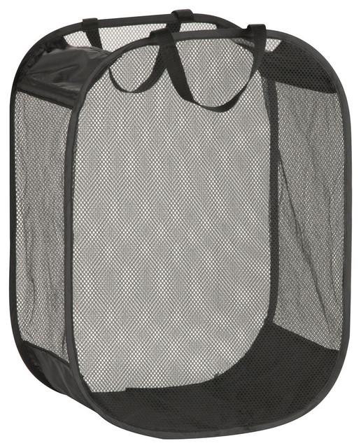 "Honey Can Do 24"" Black Foldable Mesh Laundry Basket"