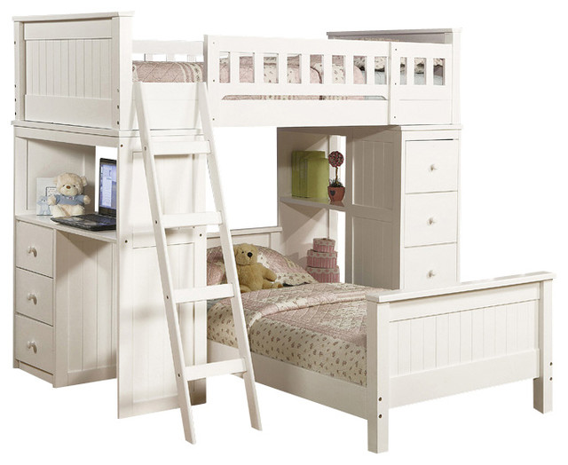 Safe Functional White Youth Twin Storage Loft Bunk Bed Drawers Study Desk  Hutch