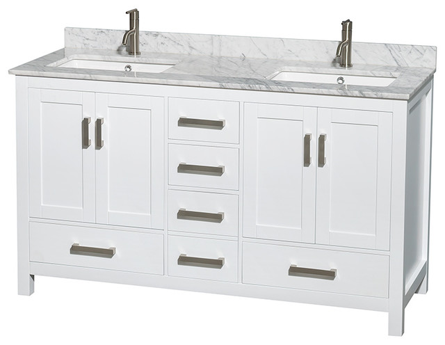 "Sheffield 60"" Double Vanity, Carrera Marble Top, Undermount Square Sink."